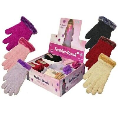 NEW Girls Childrens FEATHER Soft Touch GLITTER SPARKLE CUFF Gloves Ages 3 - 8 UK