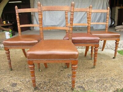 Set of four Victorian oak kitchen dining chairs (ref 715)