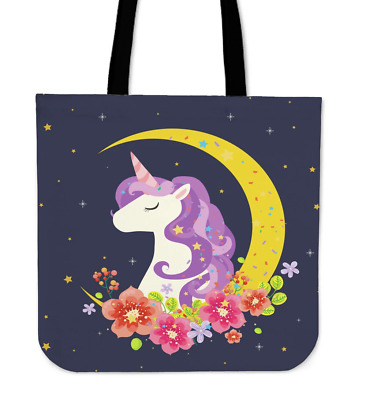 Dark Blue Starry Night Crescent Moon Unicorn Cotton Cloth Tote Bag