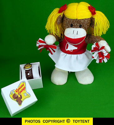 Curious George watch + Gemmy animated sock monkey cheerleader sings Jingle Bells