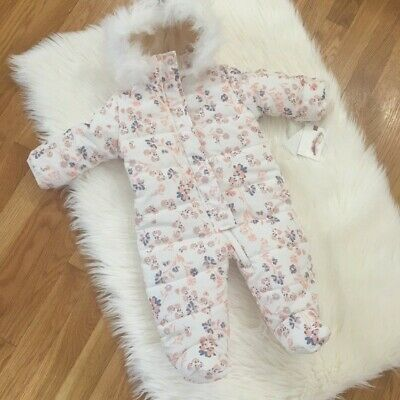 Jessica Simpson Cream Floral Insulated Hoodie Snowsuit Infant Infant Girls 3/6 M