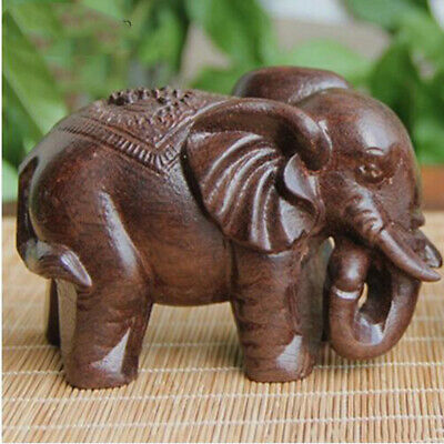 Hand Carved Wood Elephant Statue Figurine Tabletop / Shelf Decor Lucky Animal LD