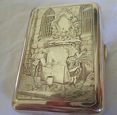 c1900 Antique FRENCH Silver Cigarette Case ART NOUVEAU Engraved EROTIC Comedy