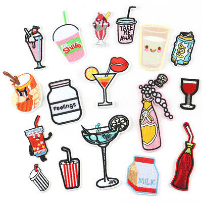 Drinks DIY Embroidered Sew Iron On Badge Patches Clothing Fabric Applique Crafts
