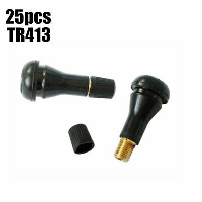 Hot Sale ! 25 Pcs TR413 Snap-In Rubber Tire Valve Stems Short Valve Black US