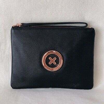 Free Post Mimco Supernatural Black Rose Gold Medium Pouch Cow Leather Rrp99.9