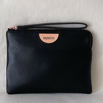Free Post Mimco Echo Black Medium Pouch Rose Gold Wallet Cow Leather Rrp99.95