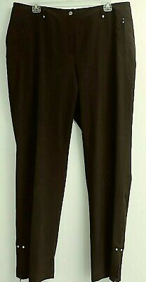 Zenergy by Chicos Size 2 Reg Brown Pants Tapered Leg Lightweight Zip Pocket