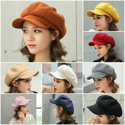 Ladies Women Girls Fashion Wool Blend Baker Boy Peaked Cap Newsboy Hat Christmas