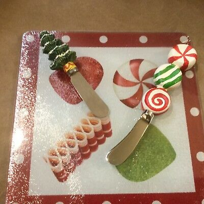 "Holiday glass Cheese tray with spreaders candy red & green trivet 8""x8"""
