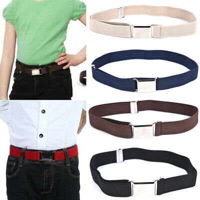 Children Solid Color Unisex Canvas Belts Boys Girls Elastic Belt Adjustable ZB
