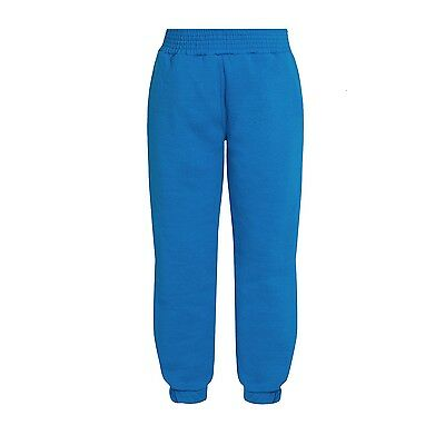 Plain Saxe Blue Jogging Bottoms Joggers Children Boys Girls Sizes Unbranded