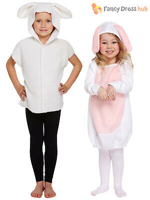 Kids Nativity Sheep Lamb Costume Tabard Christmas Play Fancy Dress Girls Boys
