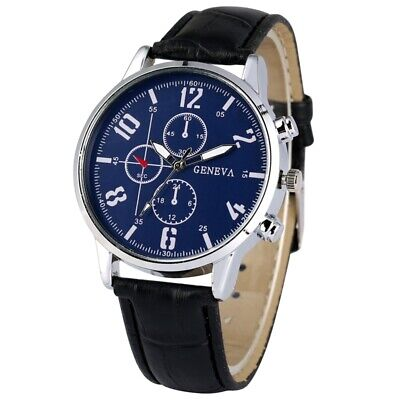 Army Men's Quartz Wristwatch Analog Dial Leather Band Strap Stainless Steel Case