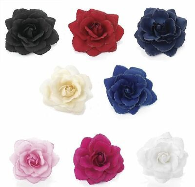 Large Glitter Edge Rose Flower Fascinator Clip Hair Elastic Band Bobble Corsage