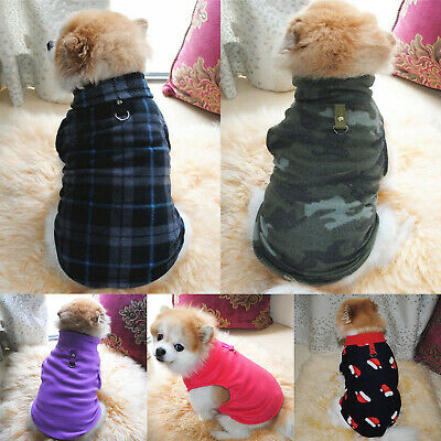 Pet Dog Fleece Warm Winter Coat Sweater Clothes Puppy Cat Xmas Costume Jumper UK