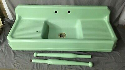 "Vtg Deco 62"" Cast Iron Jadeite Green Porcelain Kitchen Farm Sink Legs 335-19E"