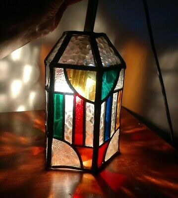 Vintage 40's 50's - Leaded & Coloured Glass Porch / Table Light / Lamp / Lantern