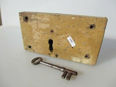 Antique Oak lock Iron Key Victorian Church Wrought Iron Wood Georgian Old