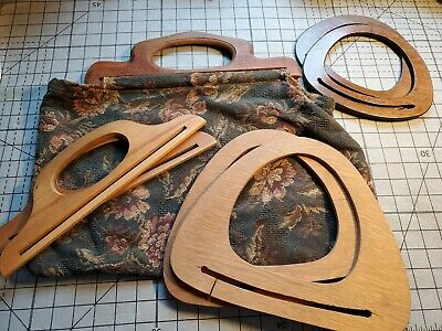 Lot 4 Vintage Wooden Bag Purse Tote Handles vtg Supplies