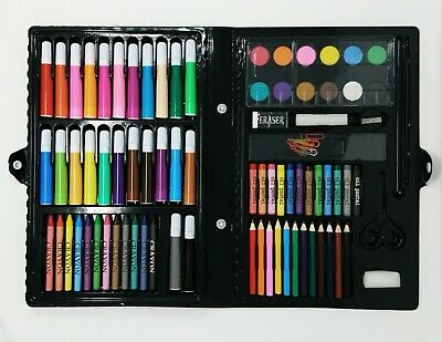 ART SET 90pc KIDS YOUNG ARTISTS DRAWING PAINTING COLOURING KIT CREATIVE GIFT TOY