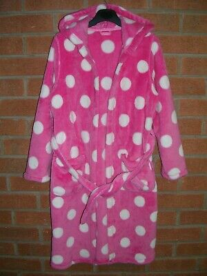 MARKS & SPENCER Girls Pink Spot Soft Fleece Dressing Gown Pyjamas Age 9-10 140cm