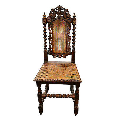 Antique English Barley Twist Victorian Oak Caned Chair w/ Peacock Carved Motif