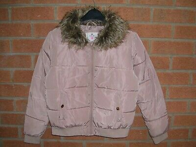 YD Girls Pink Faux Fur Collar Quilted Coat Puffa Jacket Age 11-12