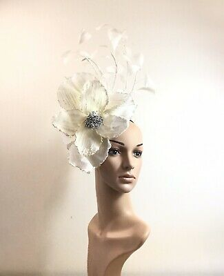 Handmade White Fascinator Headband Brand New Millinery One Off Design