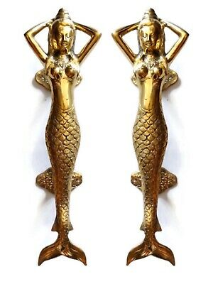 "2 Polished MERMAID 100 % Brass door PULL old style heavy house PULL handle 13"" B"