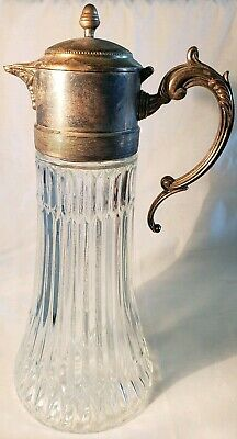 Vintage Tall Glass & Silverplate Beverage Serving Carafe/Decanter