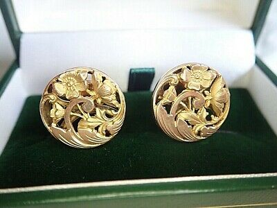 c1900 Fine Antique FRENCH ART NOUVEAU 18K Gold Cufflinks BUTTERCUPS