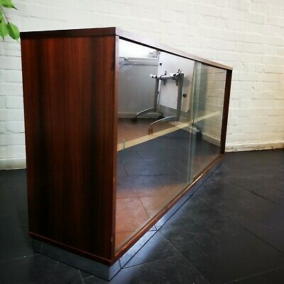 Scandinavian Rosewood Chrome Plinth Sideboard Bookcase Cupboard Vintage MCM
