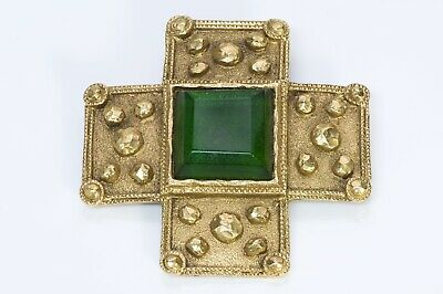 CHANEL 1980's Gripoix Byzantine Style Gold Plated Green Glass Cross Brooch