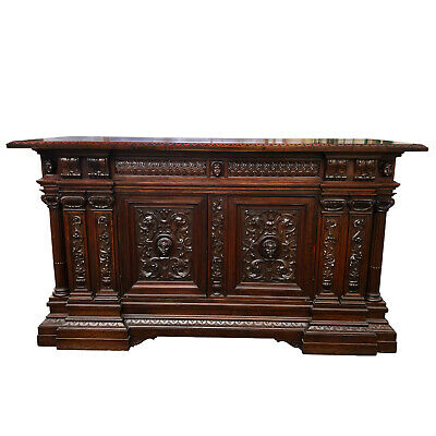 Antique Italian Renaissance Revival Heavily Carved Walnut Northwind Sideboard