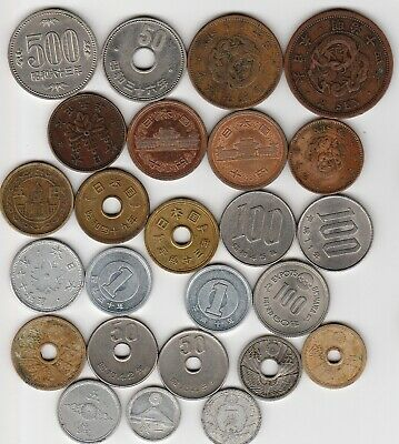 25 different world coins from JAPAN some scarce