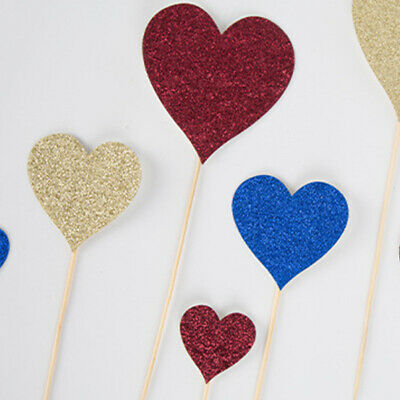 Love Heart Glitter Baking Accessories Inserts Cake Topper Wedding Party Supplies