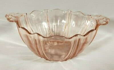 Vintage Pink Depression Glass Serving Bowl Ribbing Circles Scallop Edge Handles