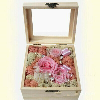 Unfinished Unpainted Hinged Wooden Natural Plain Wood Box with Lid Lidded