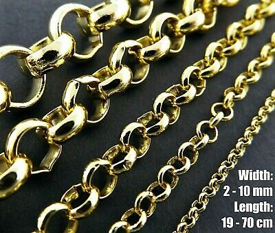 Necklace Chain Bracelet & Anklet Sizes 18k Yellow G/F Gold Solid Belcher Links