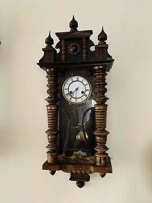Rare Genuine Vintage Antique Wall Clock With Pendulum