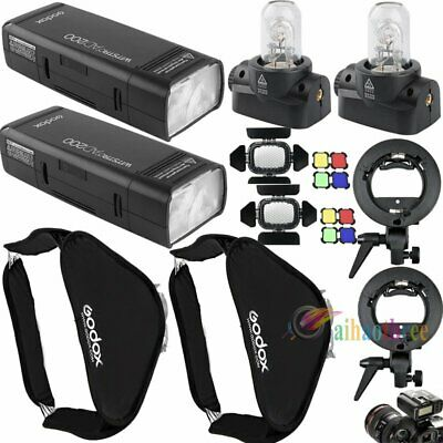 2Pcs Godox AD200Pro 200W TTL HSS 1/8000s Flash Strobe Light Softbox Trigger Kit