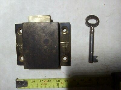 drawer lock, thick brass, unusual, 4-lever, 66 mm, antique (CC71)