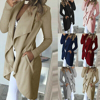 Womens Waterfall Cardigan Ladies Slim Fit Long Sleeve Blazer Coat Jacket Tops ZB