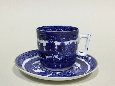Staffordshire Bone China Blue & White Willow Pattern Tea Cup & Saucer