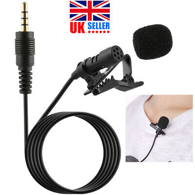 UK Clip-on Lapel Lavalier Mic Microphone 3.5mm For Mobile Phone PC Recording