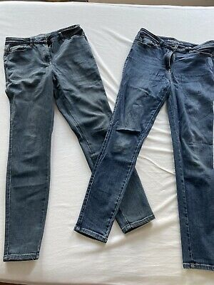 2 Pairs NEXT Skinny Fit Jeans - Blue & Grey - Size 12R (Regular Length)