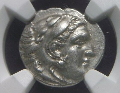 Authentic Greek Silver Drachm of Alexander III the Great,  NGC Ch AU   0005