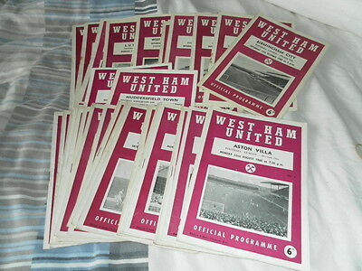West Ham United Home Programmes 1960/1 Inc Charlton League Cup Select From List
