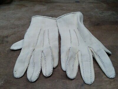 Vintage Buckskin Gloves Cream size 8